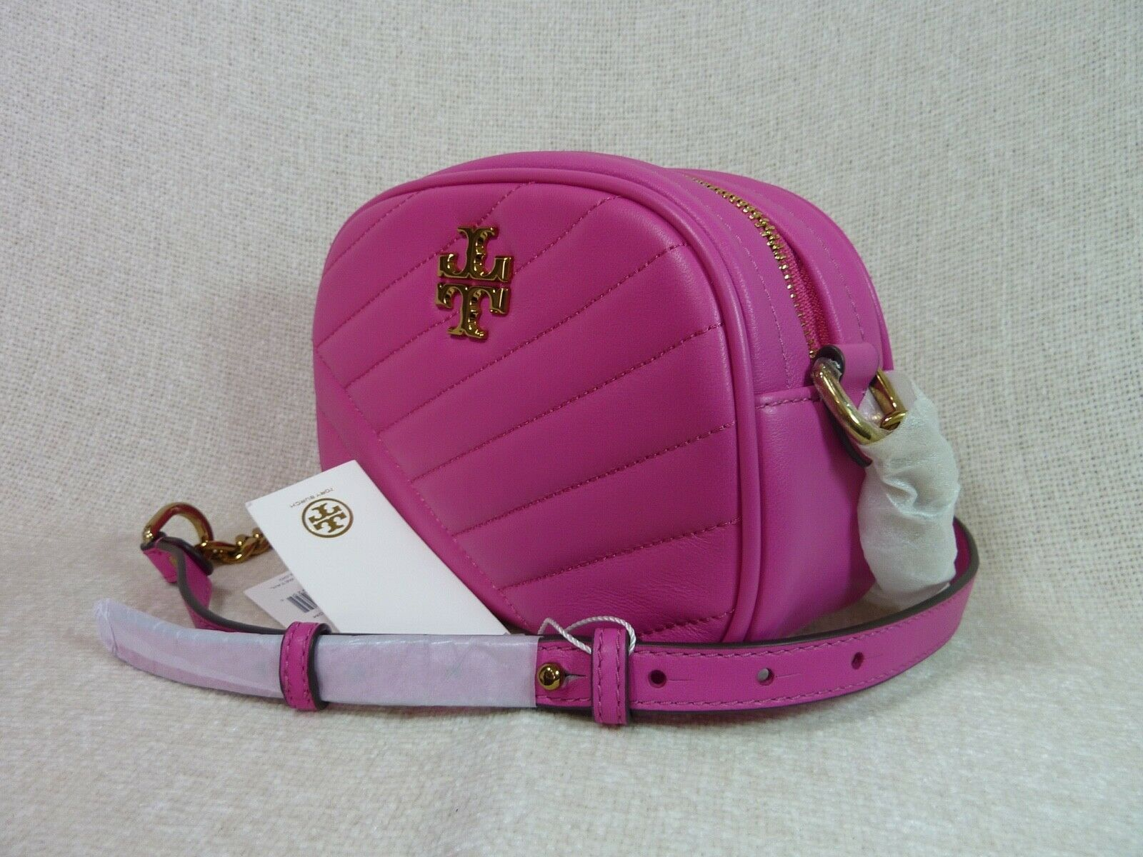 NWT Tory Burch Crazy Pink Kira Chevron Small Camera Bag $358 image 2