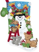 Bucilla Building a Snowman Animals Deer Bunny Christmas Felt Stocking Kit 89071E - $38.95
