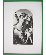 NUDE God & Mortal Woman Kiss Cherub by de Nouy - SUPERB Antique Print - $14.85