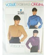 """Vogue 2316 Designer Original Versace 32.5"""" Bust Wrap Blouse Pattern Uncut - $6.33"""