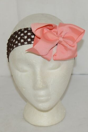 Unbranded Girl Infant Toddler Headband Removable Hair Bow Peach Brown