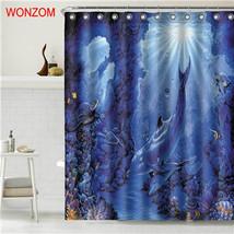 WONZOM Tiger Polyester Fabric Bear Shower Curtain Bathroom Decor Dolphin Waterpr image 2