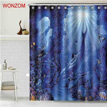 WONZOM Tiger Polyester Fabric Bear Shower Curtain Bathroom Decor Dolphin Waterpr