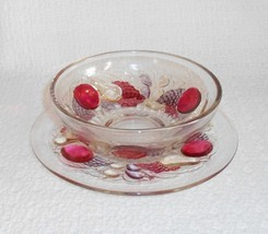 Westmoreland Della Robbia Finger Bowl with Underplate Flashed Stained Glass - $22.00