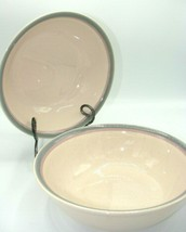 "2 Pfaltzgraff Aura Pink Large Salad Serving Bowls 10-1/2"" Pink Blue Band... - $18.69"