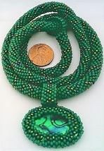 Green Bead Crochet Rope Choker Paua Shell Pendant 6 - $30.00