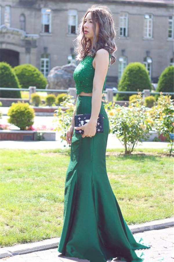 Two Pieces Prom Dress,Green Lace Formal Party Dress,Mermaid Two Piece Prom Gown
