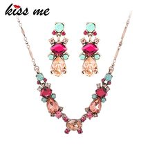 KISS ME Women Wedding Jewelry Sets 2 Colors Crystal Geometric Water Drop... - $15.90