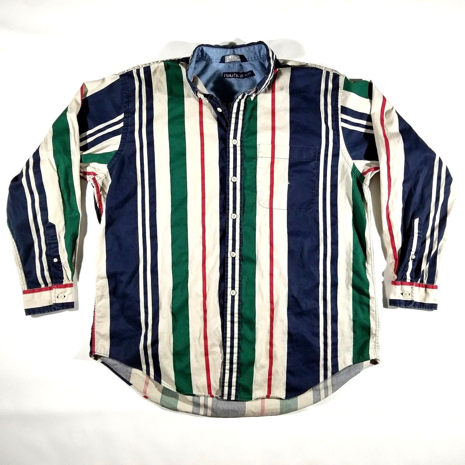 VTG Nautica Striped Dress Shirt Size XL Mens Long Sleeve Multicolor Made in USA