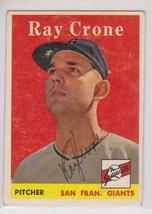 Ray Crone Signed Autographed 1958 Topps Baseball Card - San Francisco Gi... - $14.99