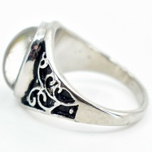 Vintage Inspired Style Silver & Black Painted Color Changing Cabochon Mood Ring image 2