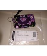 Longaberger Charmed ID Holder / Change Purse Bag Cosmetic Black Pink Flo... - $15.79
