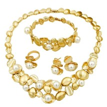 2019  Luxury Party Pearl Necklace 18 Gold Jewelry Sets Charm Earrings Bracelet f - $42.98