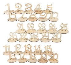 Dedoot Wooden Table Numbers 1-30, Wood Wedding Table Number with Sturdy Holder B