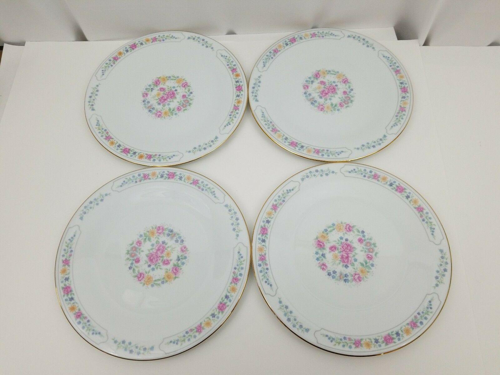 "Liling Fine China Dinner Plates Set of 4 Yung Shen White Roses Keepsake 10 5/8"""