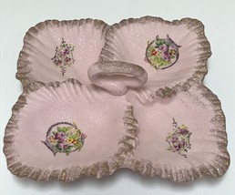 Pink Textured Candy Nut Divided Serving Dish Leaves Ruffled Edge Japan N... - $49.99