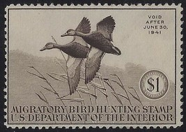 "RW7 - $1 F-VF ""Family of Ruddy Ducks"" Duck Stamp Mint NH Cat $225 - $82.16"