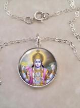 Sterling Silver 925 Pendant Necklace Vishnu Hinduism Vaishnavism Hindu D... - $30.20+