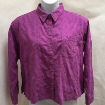 Chicos 3 L/XL Shirt Purple Embroidered Moleskin Button Down Long Sleeve Top - $21.54