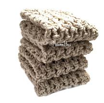 Handmade Kitchen Dish Cloths Neutral Beige Cotton Dishcloths Crochet Set... - $22.50