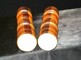Wooden lay Candle Sticks AA19-1546 Vintage Pair image 4
