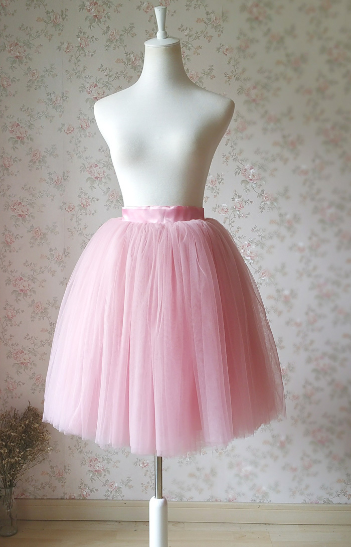 Mauve PINK Women 4 layer Princess Tutu Knee Length Birthday Party Tutu Skirt