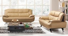 ESF 405 Brown Chic Italian Leather Sofa Loveseat Living Room Set 2Pcs Modern