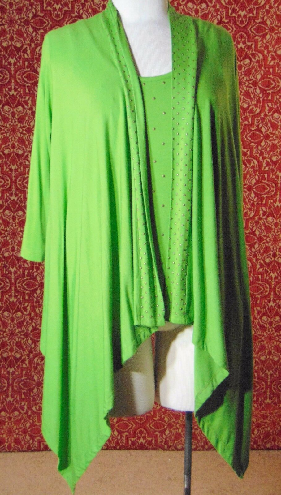 ETOILE green 2 piece stretch rayon tank blouse & sweater jacket M (T47-02I8G)