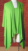 ETOILE green 2 piece stretch rayon tank blouse & sweater jacket M (T47-02I8G) image 1