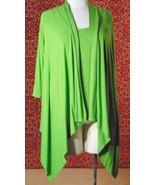 ETOILE green 2 piece stretch rayon tank blouse & sweater jacket M (T47-0... - $22.75