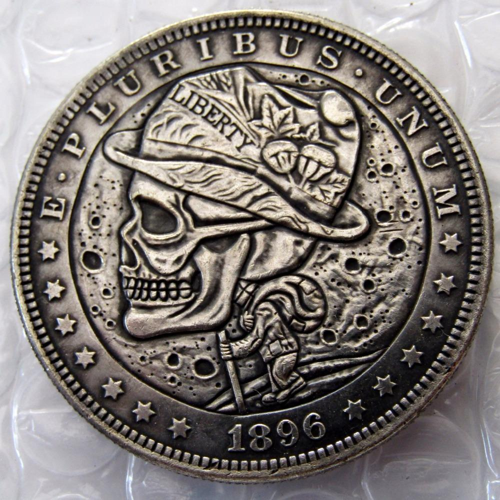 Primary image for TREKKING WALKING HIPPIE HOBO NICKEL US 1896 Morgan Dollar skull zombie skeleton