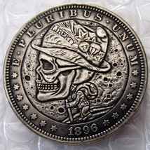TREKKING WALKING HIPPIE HOBO NICKEL US 1896 Morgan Dollar skull zombie s... - $11.99