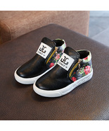 Comfy kids Floral and leather Boots Shoes Girls Fabric Flats  in two Colors - $39.99