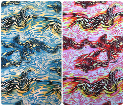 Bubble Swirl Pattern w/ Shiny Faux Sequins on Stretch Polyester Spandex ... - $2.96+