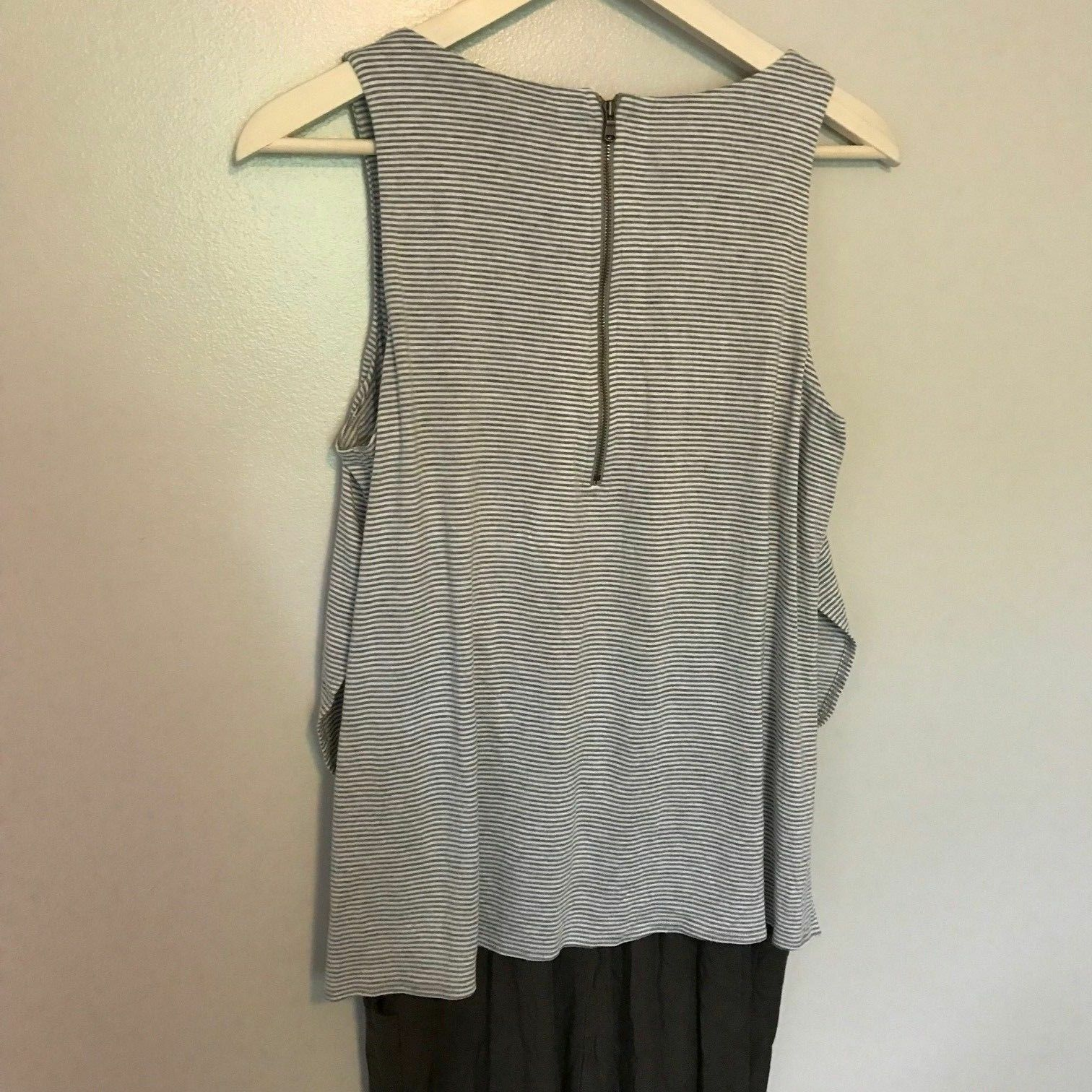 Anthropologie Elevenses Priya Gray Striped Brown Jumpsuit Size S