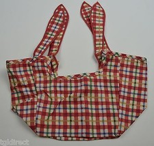 Longaberger Seashell Basket Liner Cherry Red Plaid Collectible Accessory... - $12.99