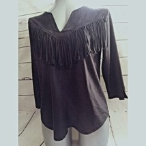 Express Women Top  Size Medium Black Faux Suede Frill 3/4 Sleeve V-Neck ... - $19.58