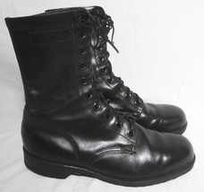 Vintage Genesco Boots Military Black Leather Motorcycle Biker Lace Up Me... - $118.80