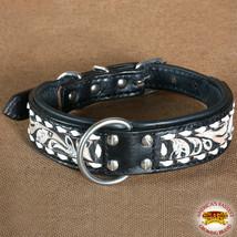 Hilason Heavy Duty Genuine Leather Dog Collar Floral Carving Black U-C108 - $23.79