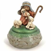 Christmas Handpainted Ceramic Shepherd Boy Music O Holy Night Decor 1983  - $15.47