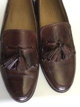 JOHNSTON & MURPHY ITALY Sz 8.5 8 1/2 M US TASSELS LOAFERS SLIP ONS BROWN - $79.19