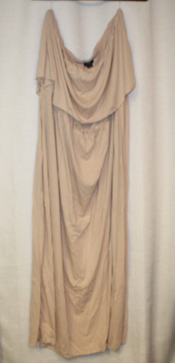 NEW WOMENS PLUS SIZE 3X TAUPE FLOUNCE OFF-SHOULDER MAXI DRESS
