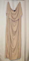 NEW WOMENS PLUS SIZE 3X TAUPE FLOUNCE OFF-SHOULDER MAXI DRESS - $18.37