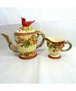 Geo Z Lefton Tea Pot and Creamer 2001 Red Bird Cardinal Flowers 13687 13681 - $24.74