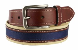 Tommy Hilfiger Men's Premium 35MM Canvas Leather Belt 11TL02X044