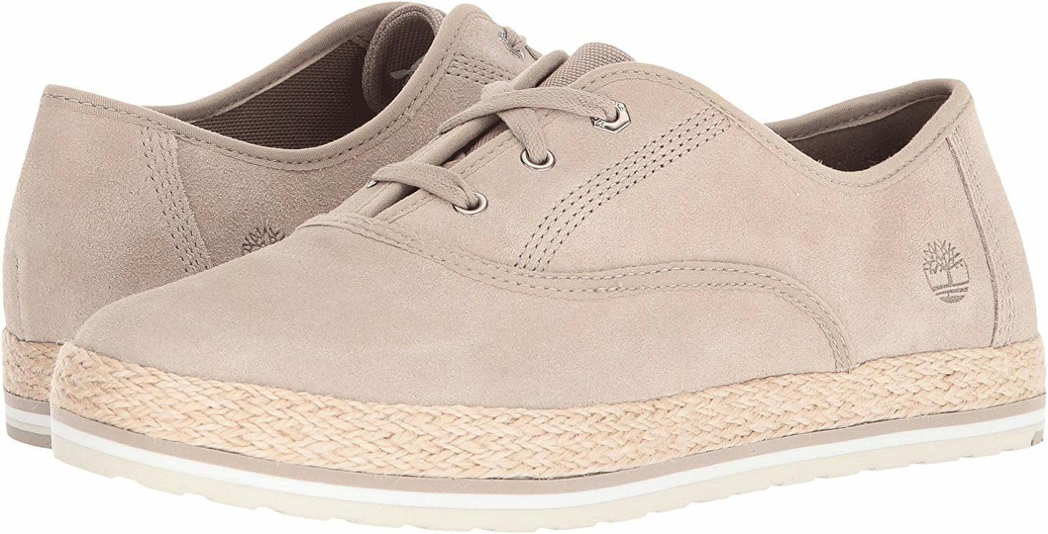 Timberland Womens Eivissa Sea Oxford Light Beige Leather Shoes Flats Lace A1MA5