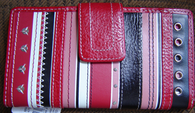 FOSSIL WOMEN'S 1 WALLET GENUINE 100%LEATHER RED/BLACK MULTI STRIPED NEW