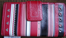 FOSSIL WOMEN'S 1 WALLET GENUINE 100%LEATHER RED/BLACK MULTI STRIPED NEW - $64.75