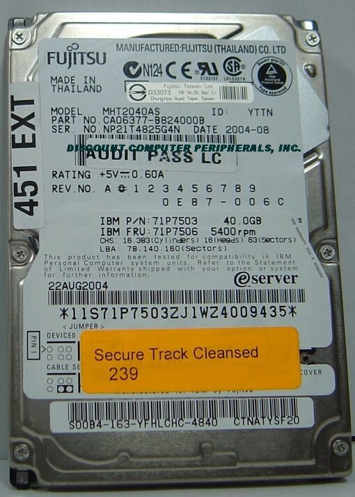 "Fujitsu MHT2040AS 40GB 2.5"" IDE 44PIN Drive Tested Free USA Ship Our Drives Work"
