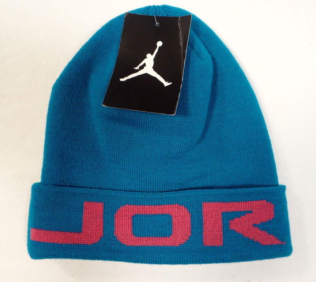 on sale efef3 63332 S l1600. S l1600. Previous. Nike Jordan Signature Blue   Pink Cuff Knit Beanie  Youth Boys Size ...